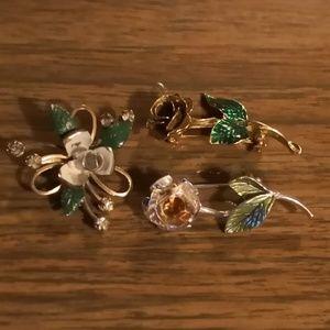 Vintage flower Brooches set of 3
